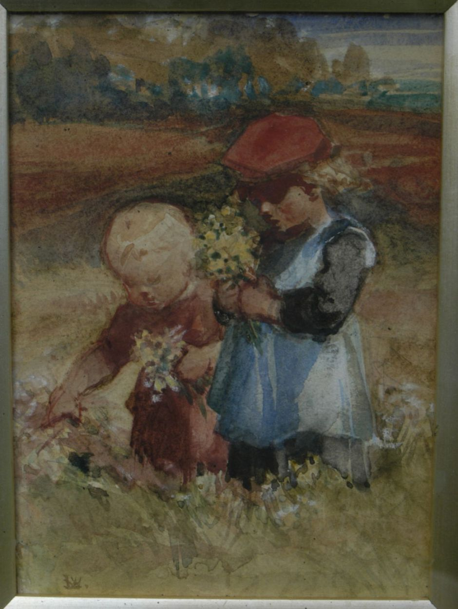 beresfordtwochildrenpickingflowers