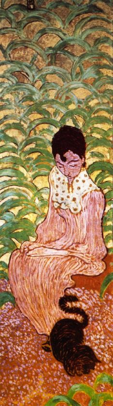 Pierre Bonnard (1867-1947), Woman in the Garden, panel 2 (1891), oil on paper mounted on canvas, each 160 x 48 cm, Musée d'Orsay, Paris). The Athenaeum.