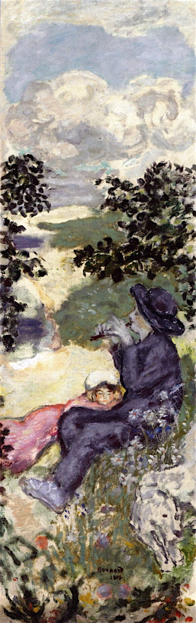 Pierre Bonnard (1867-1947), In the Country: Father and Daughter (1907), oil on canvas, 102 x 33 cm, Private collection. The Athenaeum.