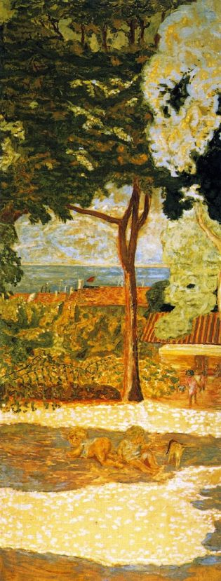 Pierre Bonnard (1867-1947), Mediterranean (centre panel of triptych) (1911), oil on canvas, 407 x 152 cm, The State Hermitage Museum, St Petersburg, Russia. The Athenaeum.