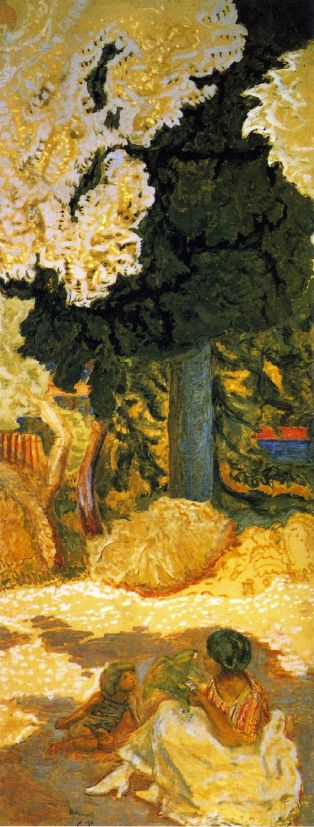 Pierre Bonnard (1867-1947), Mediterranean (right panel of triptych) (1911), oil on canvas, 407 x 149 cm, The State Hermitage Museum, St Petersburg, Russia. The Athenaeum.