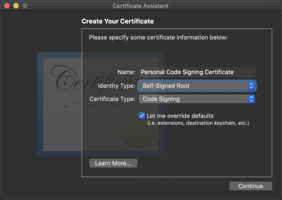 Code Signing For The Concerned 2 Creating A Personal Certificate