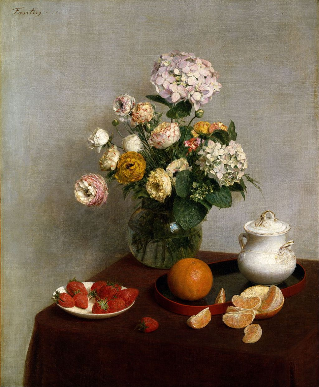 Henri Fantin Latour, Still Life Vase Of Hydrangeas And Ranunculus, 1866