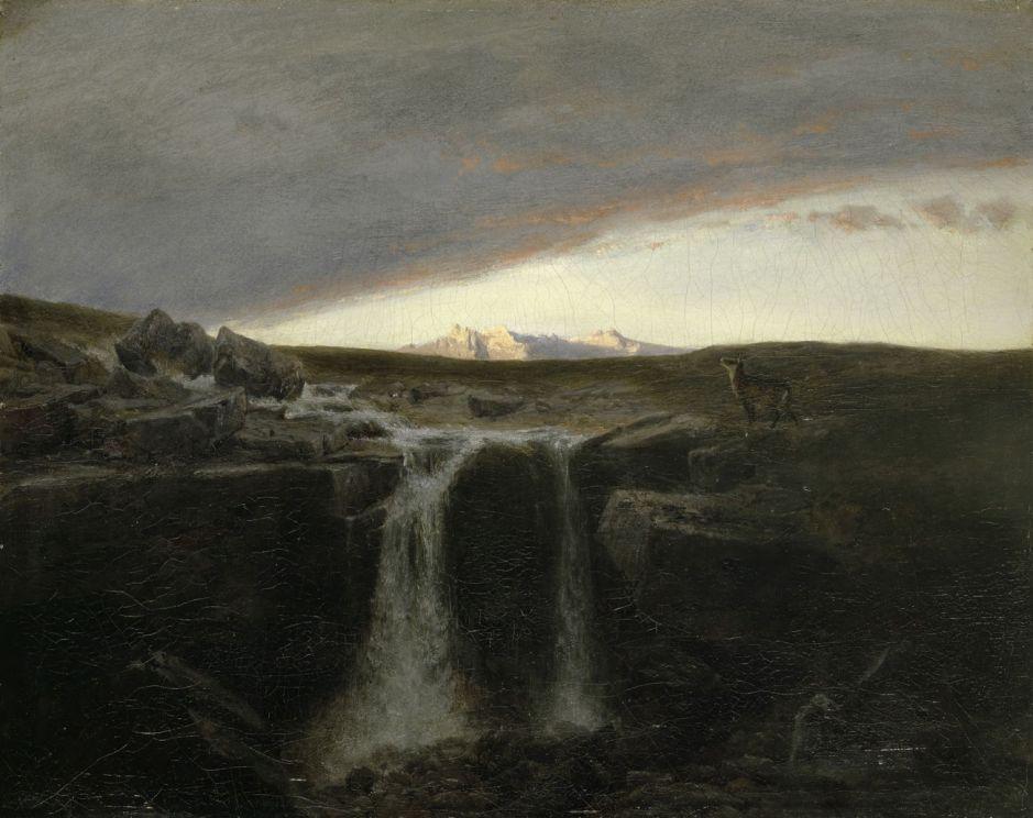 Arnold Böcklin; Gebirgslandschaft mit Wasserfall; um 1849