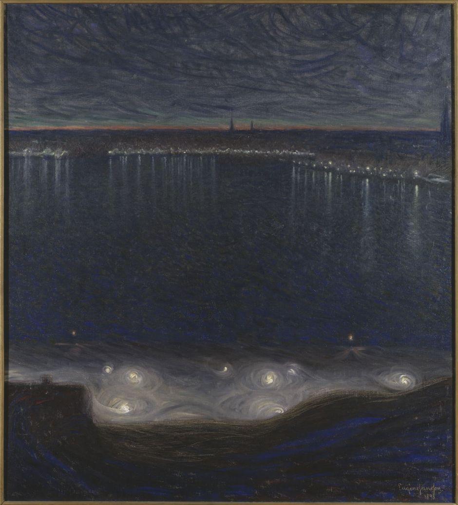 Eugène Jansson: Riddarfjärden i Stockholm.NM1699