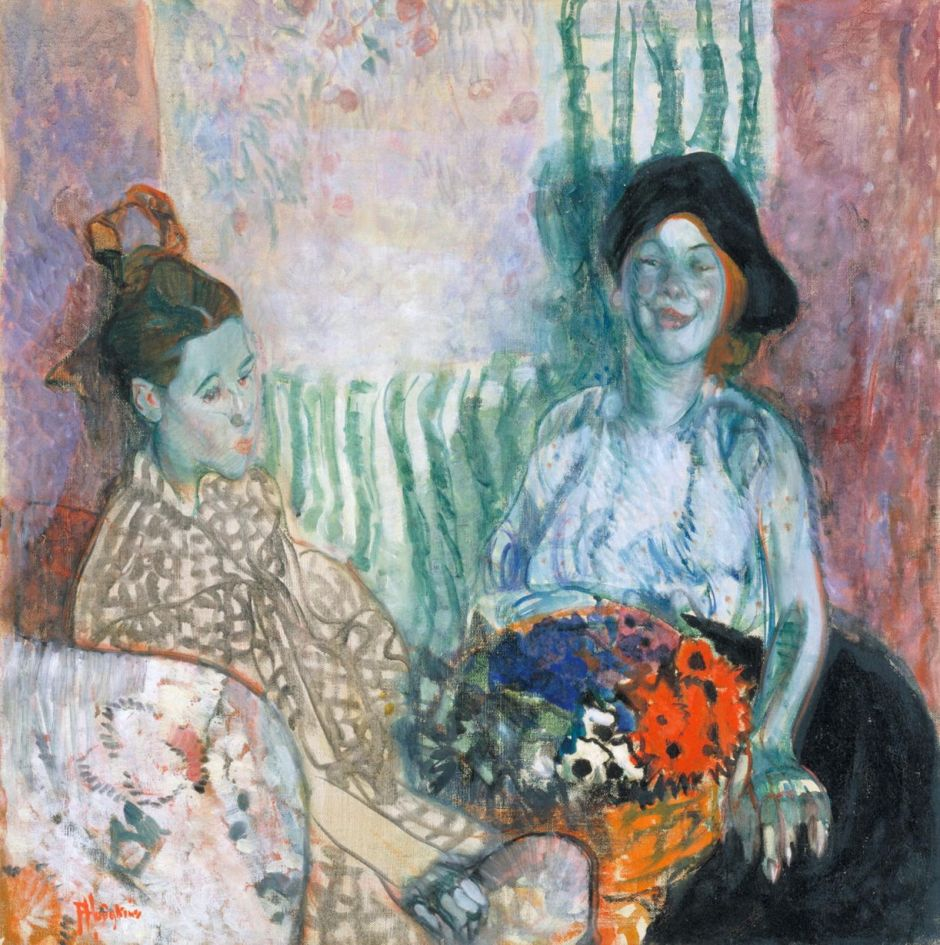 Loveday and Ann: Two Women with a Basket of Flowers 1915 by Frances Hodgkins 1869-1947
