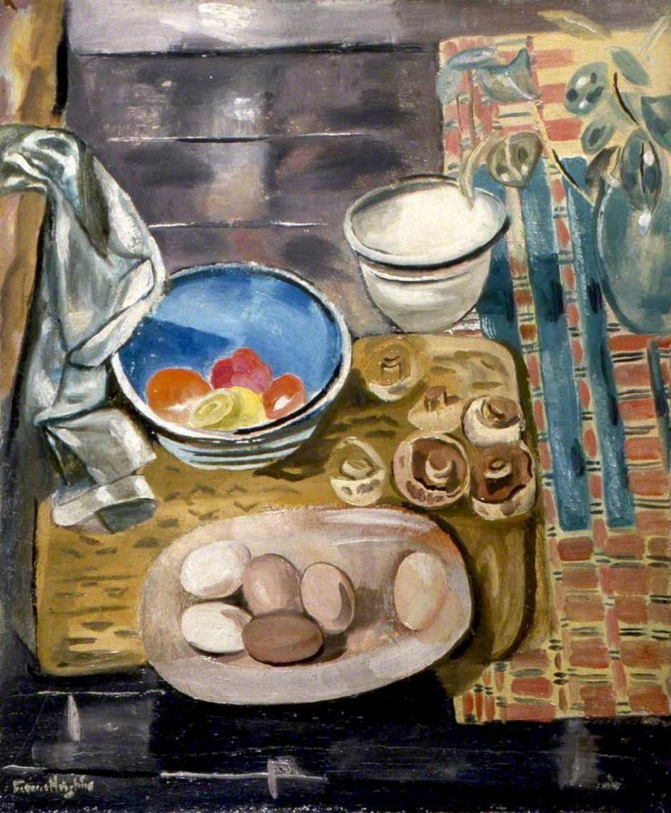 Hodgkins, Frances, 1869-1947; Still Life: Eggs, Tomatoes and Mushrooms