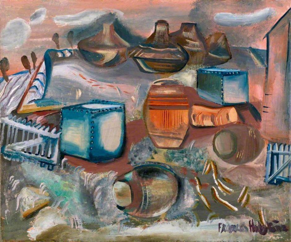 Hodgkins, Frances, 1869-1947; Tanks, Barrels and Drums