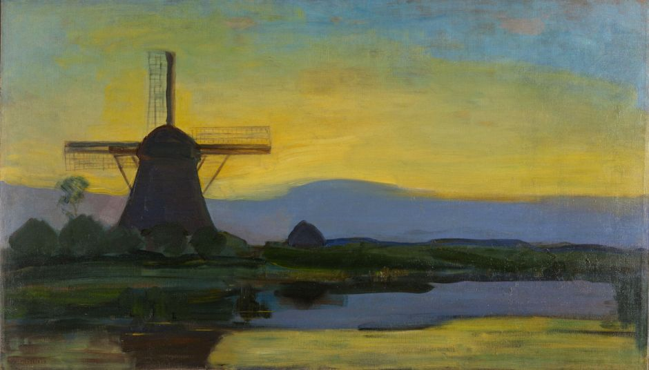 Oostzijde windmill at night, by Piet Mondriaan
