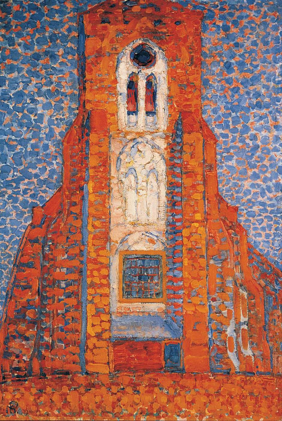 Sun, Church in Zeeland; Zoutelande Church Facade 1909-10 by Piet Mondrian 1872-1944
