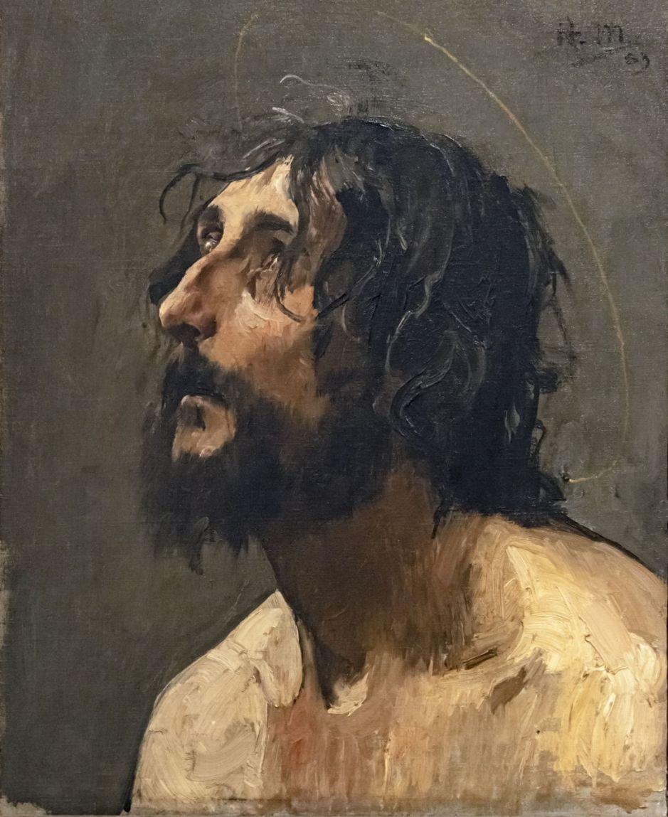 Beaux-Arts de Carcassonne - Autoportrait en saint Jean-Baptiste 1883 - Henri Martin 46x33.5