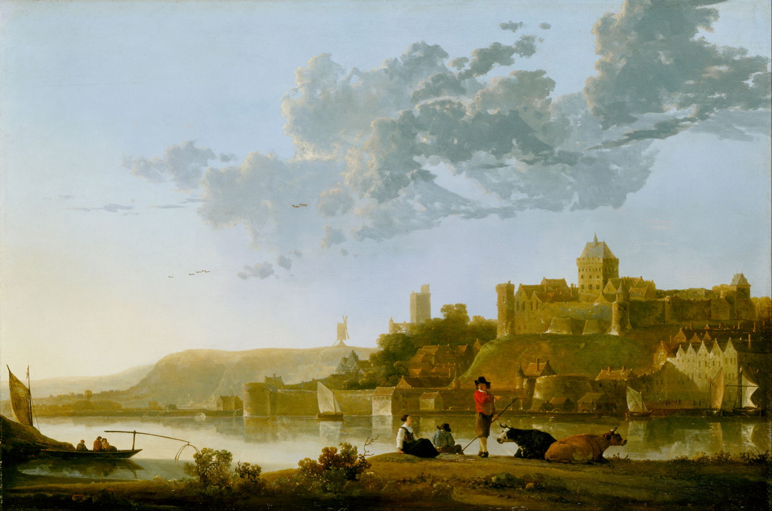 Ships Boats in the harbour. Aelbert Cuyp French Vintage 8180s Large completed Needlepoint