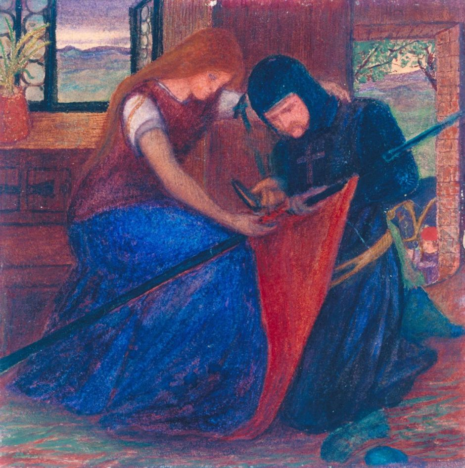 Lady Affixing Pennant to a Knight's Spear c.1856 by Elizabeth Eleanor Siddal 1829-1862