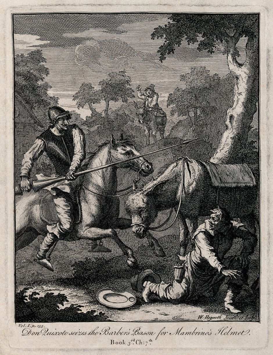 V0049161 Don Quixote with a lance riding a horse attacks a barber. En