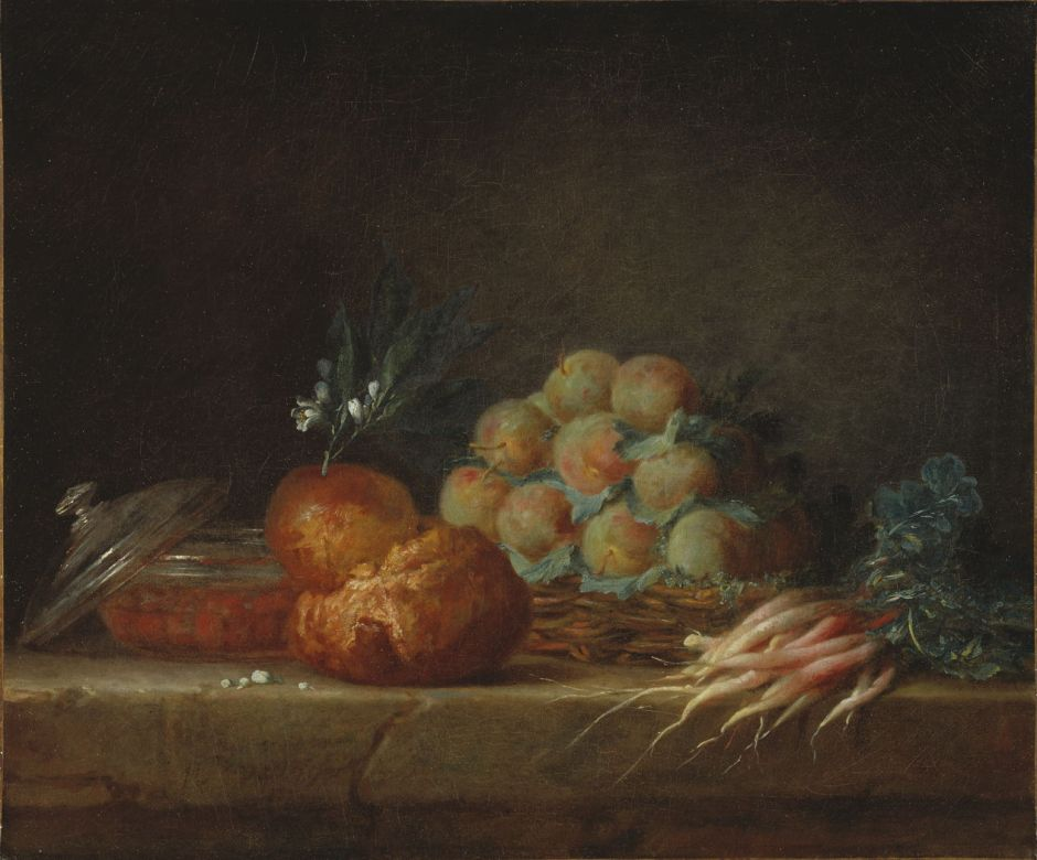 Anne Vallayer-Coster: Stilleben med brioche, frukt och grönsaker.NM 6937