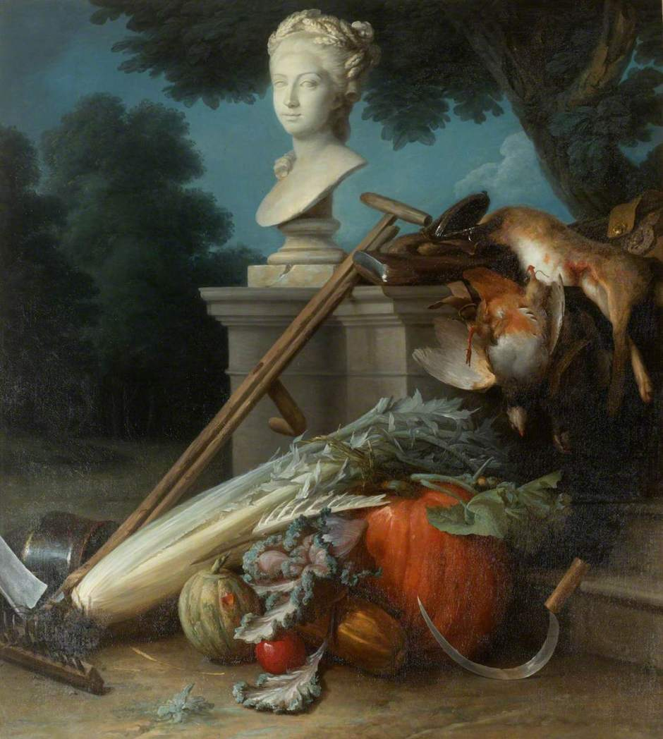 Vallayer-Coster, Anne, 1744-1818; Garden Still Life with Implements, Vegetables, Dead Game and a Bust of Ceres (The Attributes of Gardening)