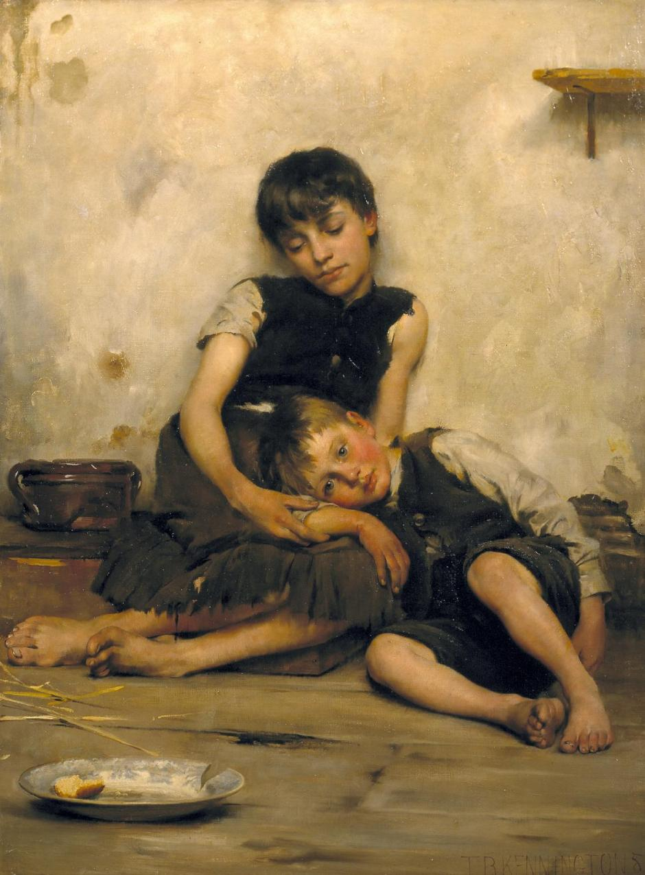 Orphans 1885 by Thomas Benjamin Kennington 1856-1916