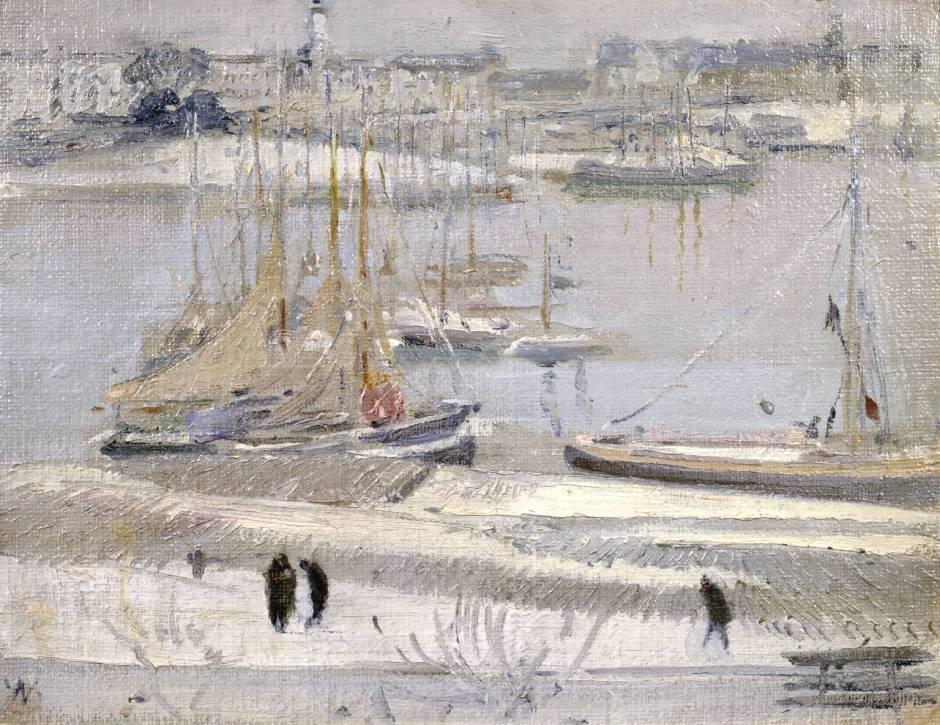Harbour in Snow, La Rochelle 1938 by Sir William Nicholson 1872-1949