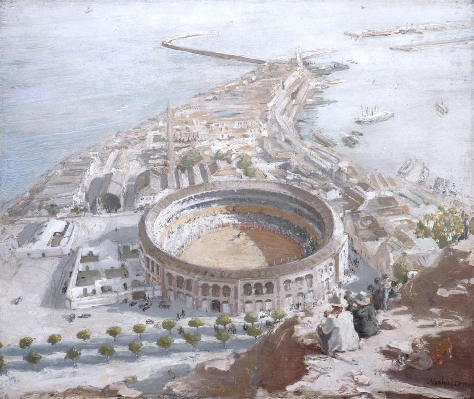 Plaza de Toros, Malaga 1935 by Sir William Nicholson 1872-1949